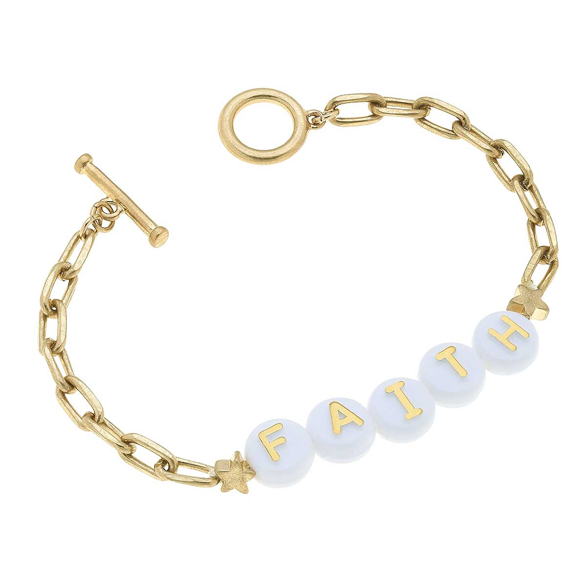Faith Block Letter Paperclip Chain T-Bar Bracelet in Worn Gold