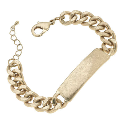 Salem Curb Chain ID Plate Bracelet in Worn Gold