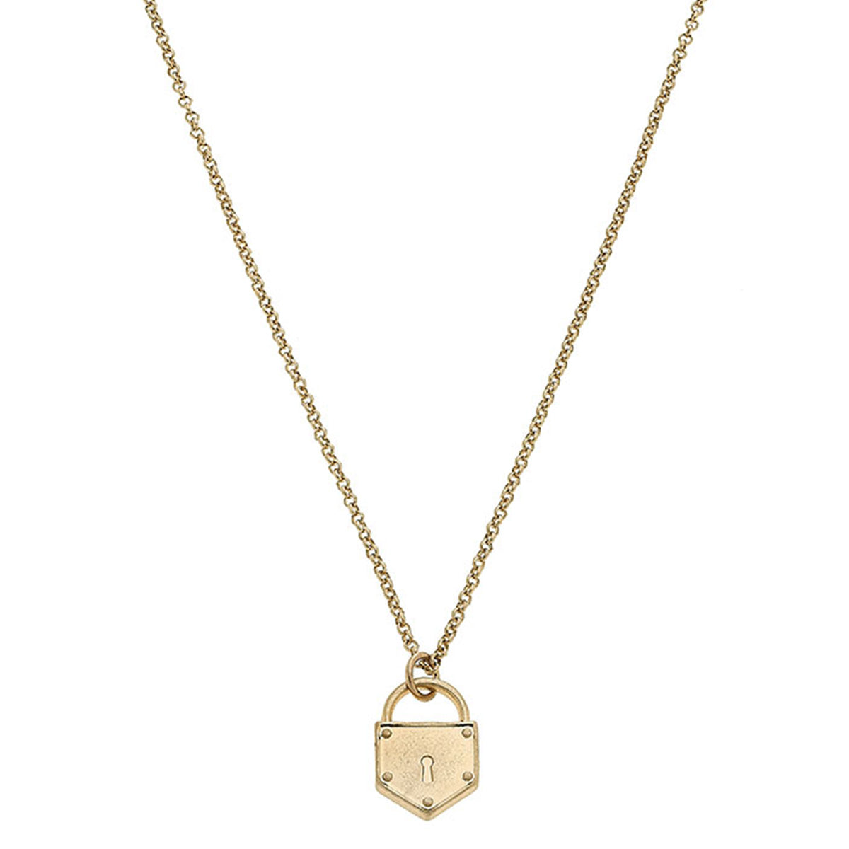 Piper Delicate Chain Padlock Necklace in Worn Gold