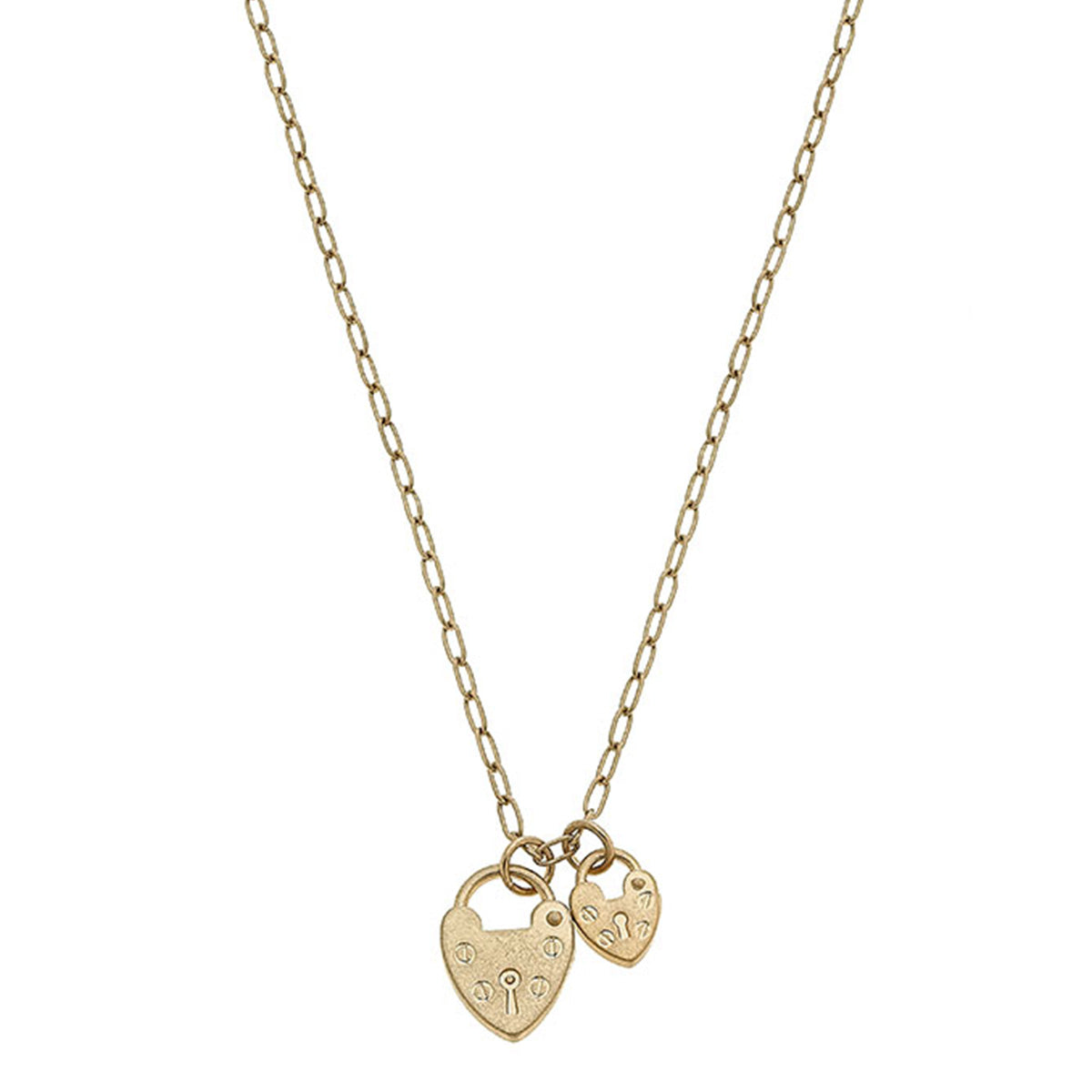 Mia Heart Padlock Charm Necklace in Worn Gold