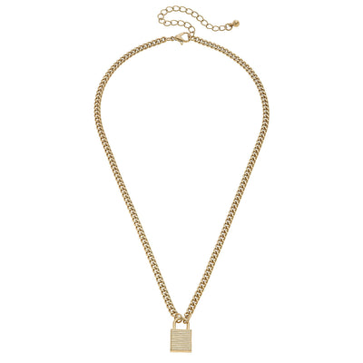 Zara Padlock Necklace in Worn Gold
