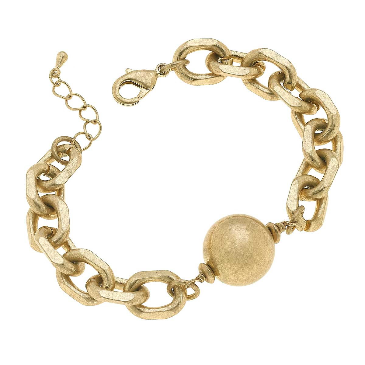 Carli Ball Bead Chunky Chain Bracelet in Worn Gold