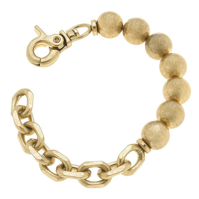 Mila Ball Bead Chunky Chain Bracelet in Worn Gold