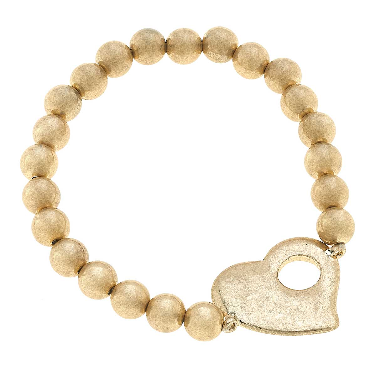 Avalyn Heart Ball Bead Stretch Bracelet in Worn Gold