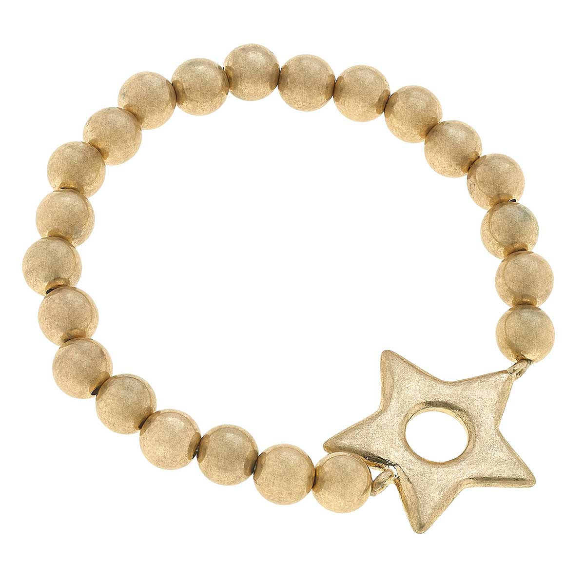 Avalyn Star Ball Bead Stretch Bracelet in Worn Gold