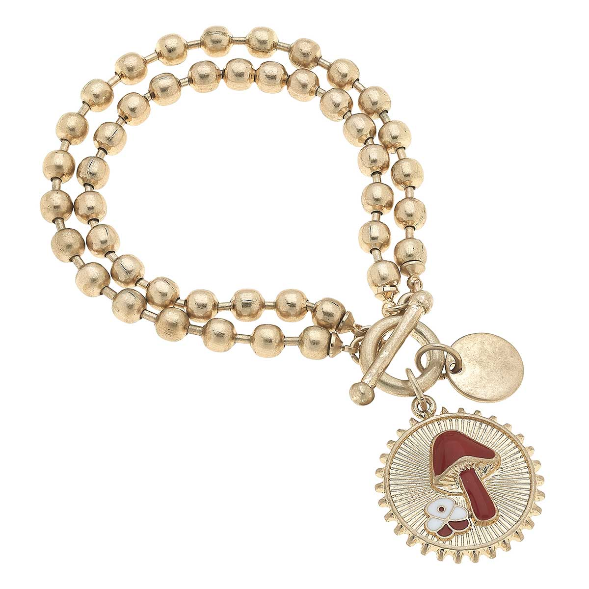 Delaine Mushroom Layered Ball Chain T-Bar Bracelet in Worn Gold