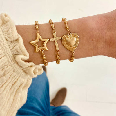 Grace Heart Ball Chain Bracelet in Worn Gold