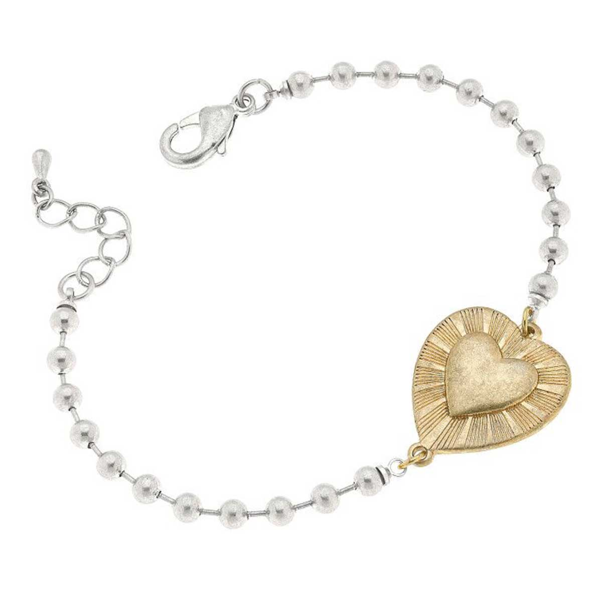 Grace Heart Ball Chain Bracelet in Worn Silver