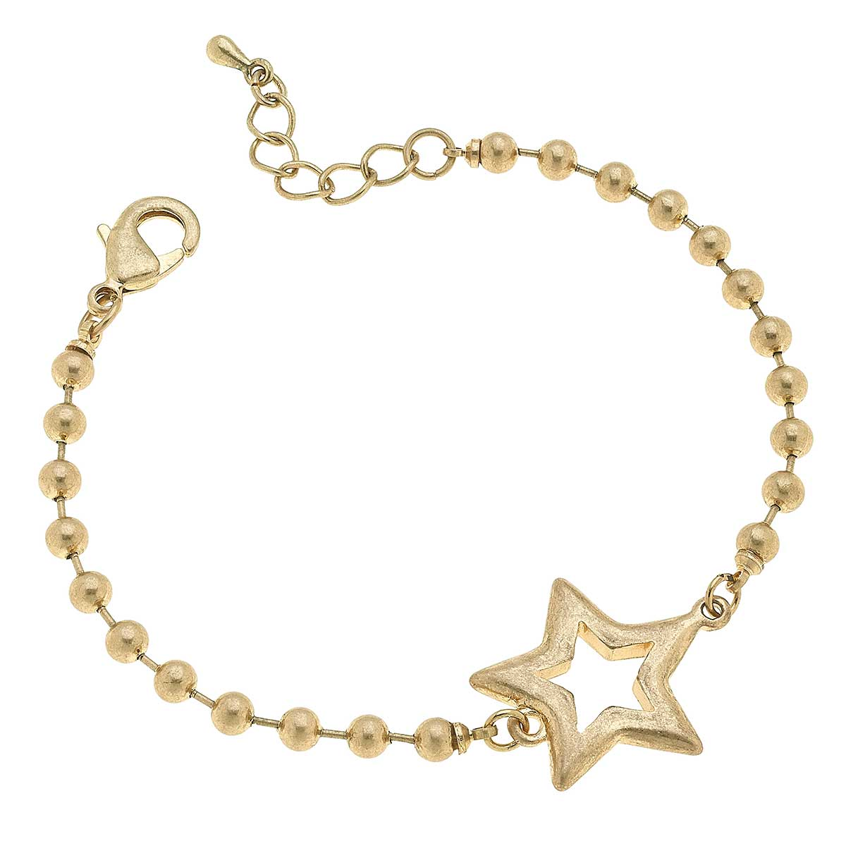 Grace Star Ball Chain Bracelet in Worn Gold