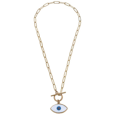 Everly Paperclip Chain Evil Eye Talisman Necklace in Blue & White