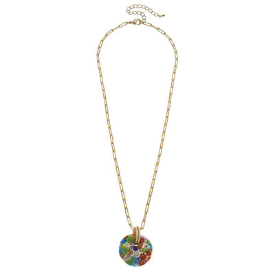 Millefiori Glass Pendant Paperclip Chain Necklace in Multi