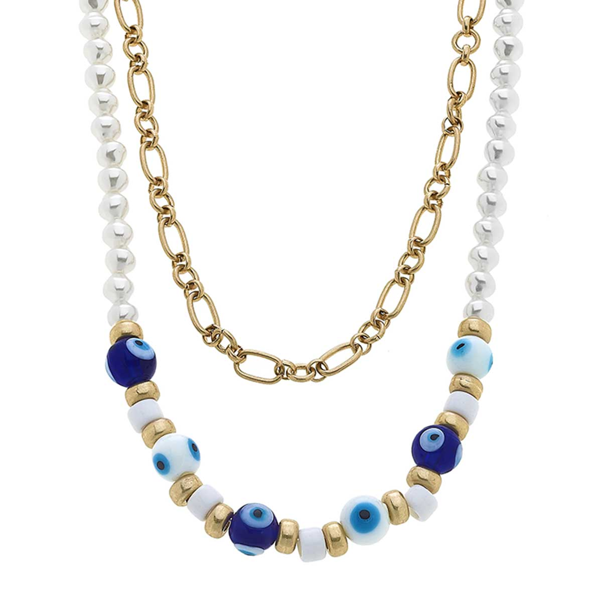 Murano Glass Evil Eye & Pearl Layered Talisman Necklace in Blue, White & Aqua