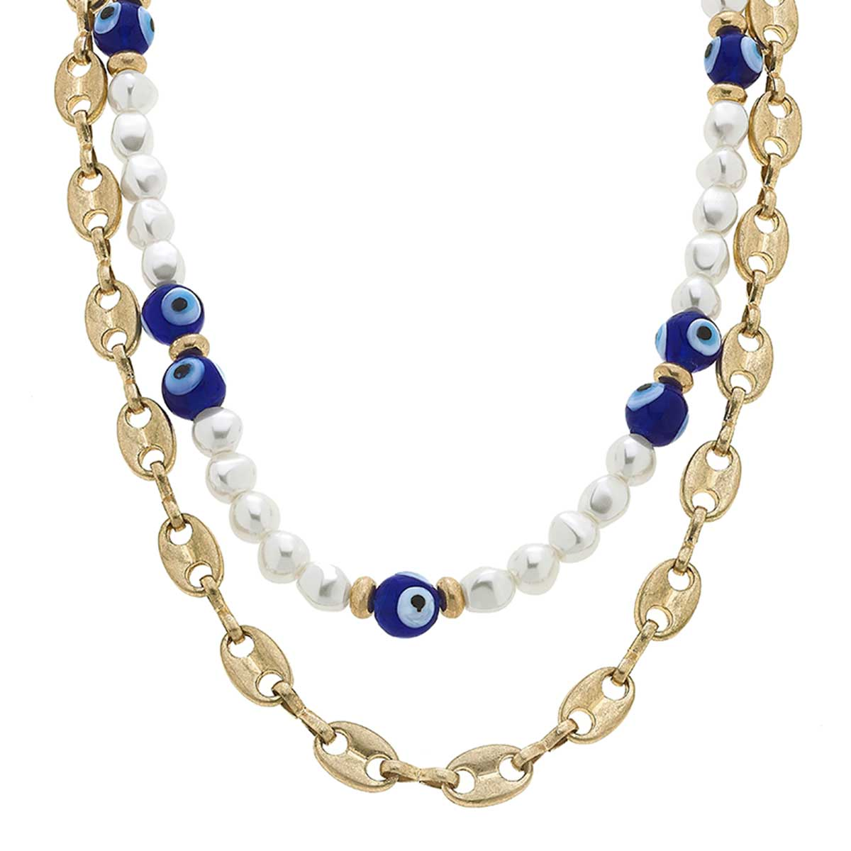 Murano Glass Evil Eye & Pearl Layered Talisman Necklace in Blue & White