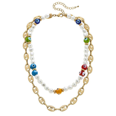 Murano Glass Evil Eye & Pearl Layered Talisman Necklace in Multi