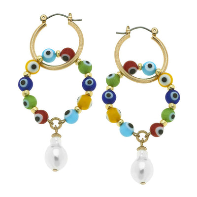 Murano Glass Evil Eye Talisman Interlocking Hoop Earrings in Multi