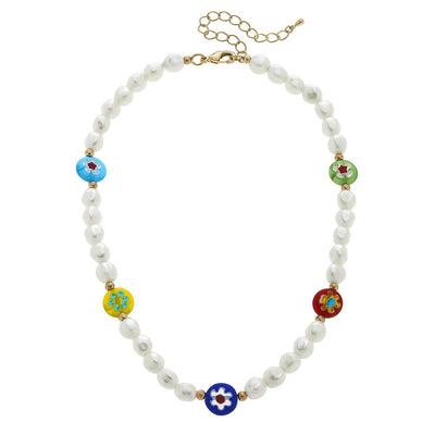 Millefiori Glass & Freshwater Pearl Beaded Necklace in Multi