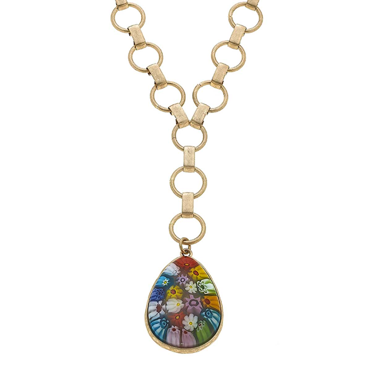 Millefiori Glass Teardrop Pendant Y Necklace in Multi