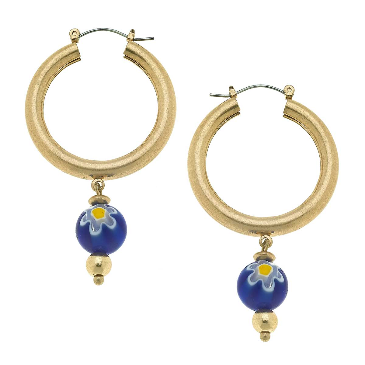 Millefiori Glass Bead Drop Hoop Earrings in Blue