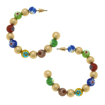 Millefiori Glass & Ball Bead Hoop Earrings in Multi
