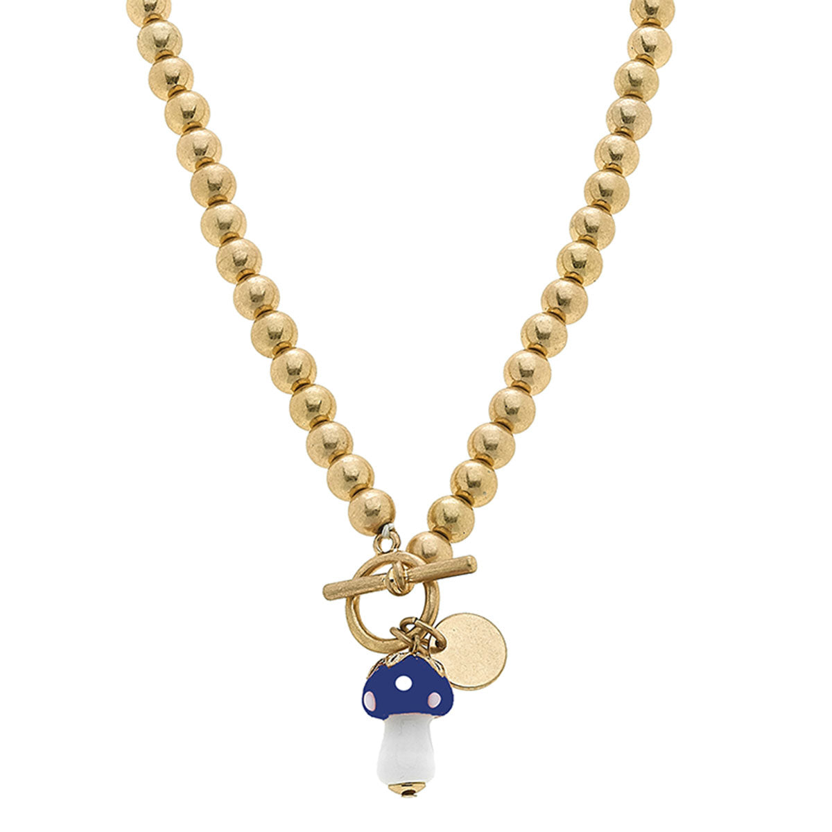 Murano Glass Mushroom Charm Ball Bead T-Bar Necklace in Blue