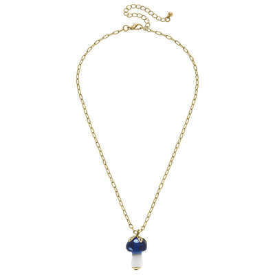 Murano Glass Mushroom Charm Paperclip Chain Necklace in Blue