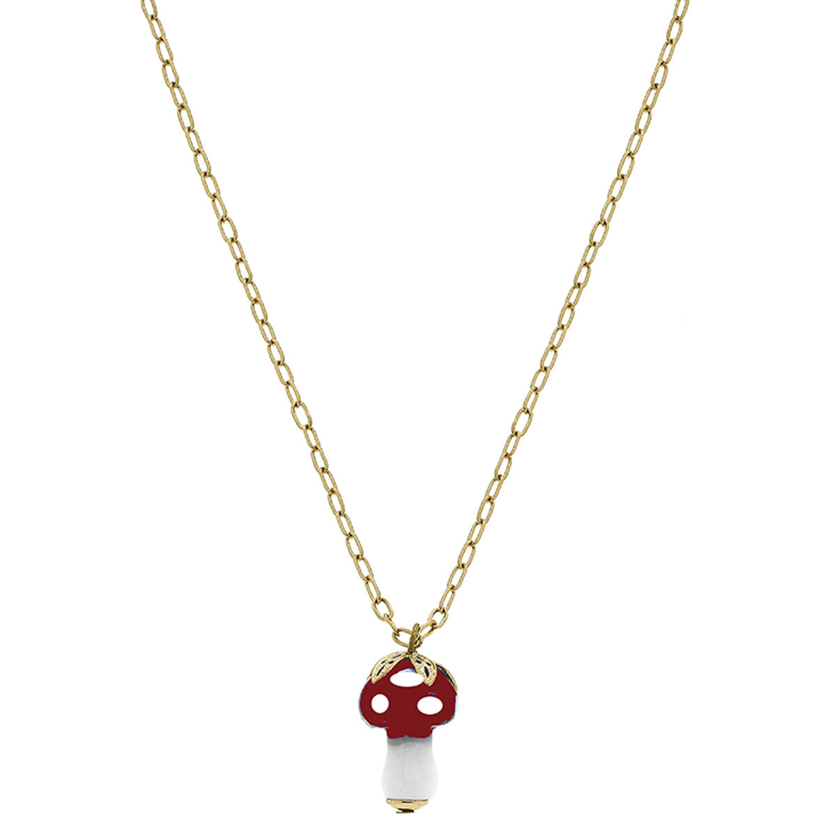 Murano Glass Mushroom Charm Paperclip Chain Necklace in Red