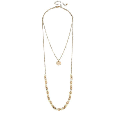 Carmen Layered Beaded Necklace in Ivory