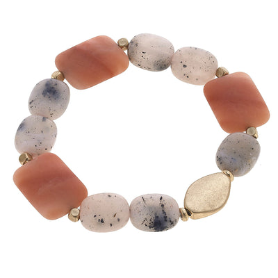 Aerin Beaded Stretch Bracelet in Rusty Blush
