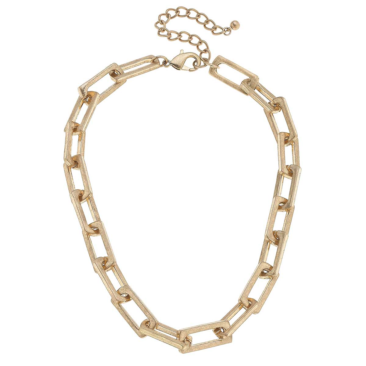 Lennox Chunky Rectangle Chain Link Necklace in Worn Gold