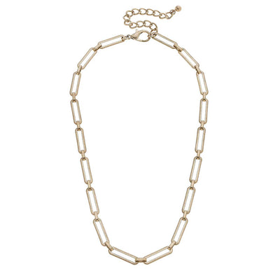 Zen Paperclip Chain Necklace in Worn Gold