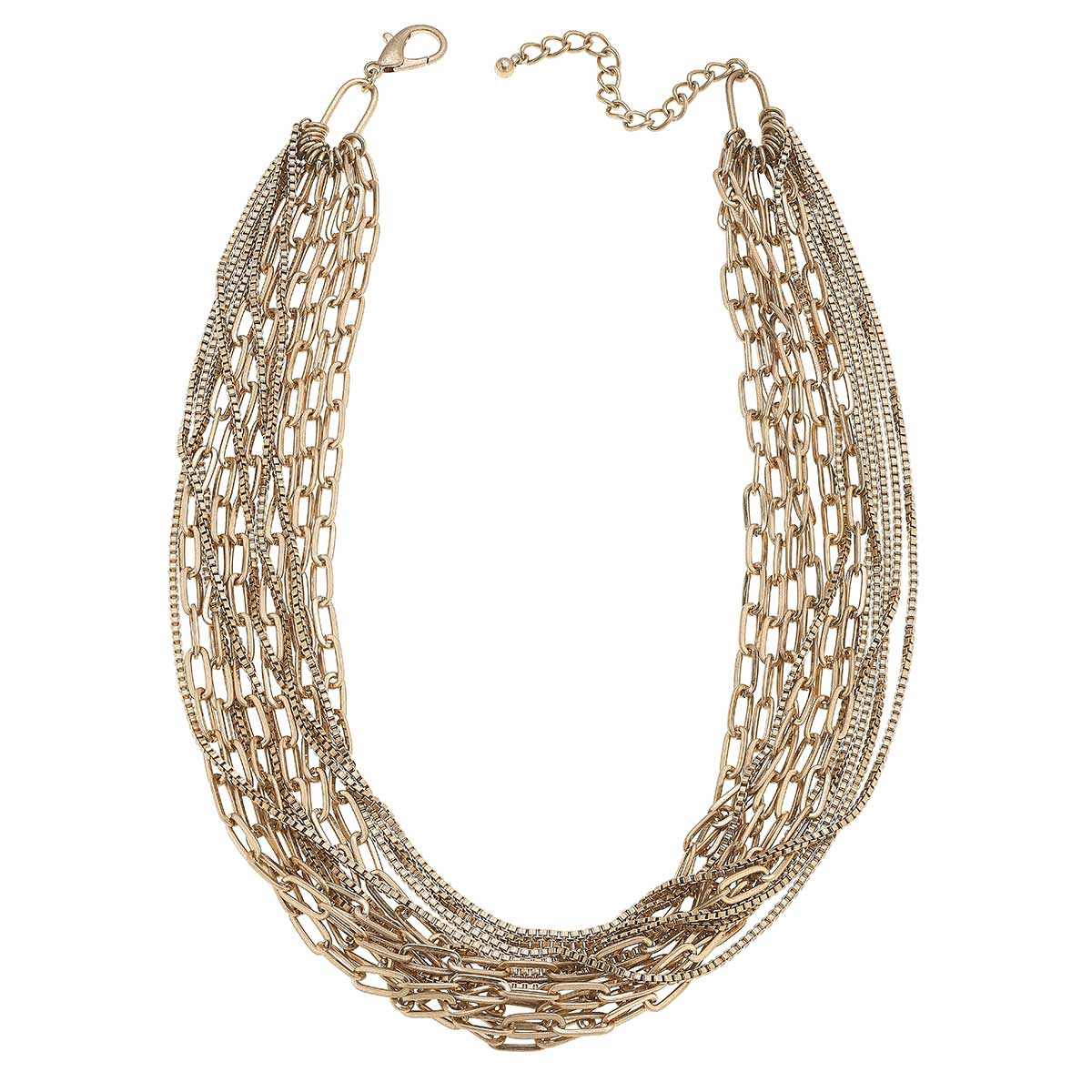 Soren Layered Mixed Media Chain Statement Necklace in Worn Gold