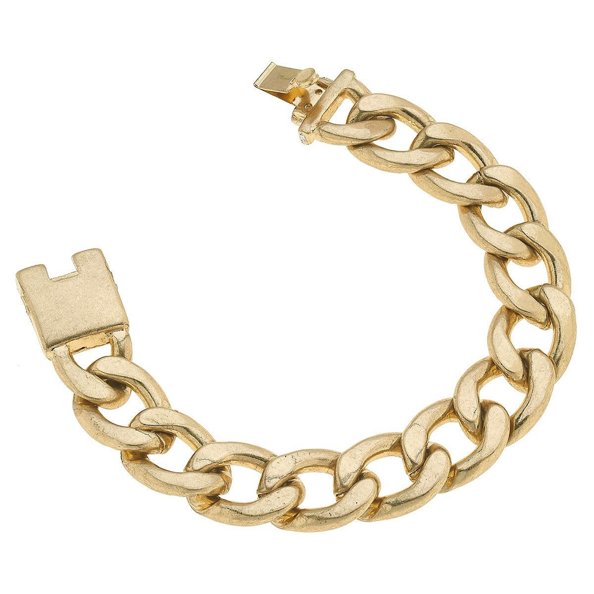 Yara Chunky Curb Chain Bracelet in Worn Gold