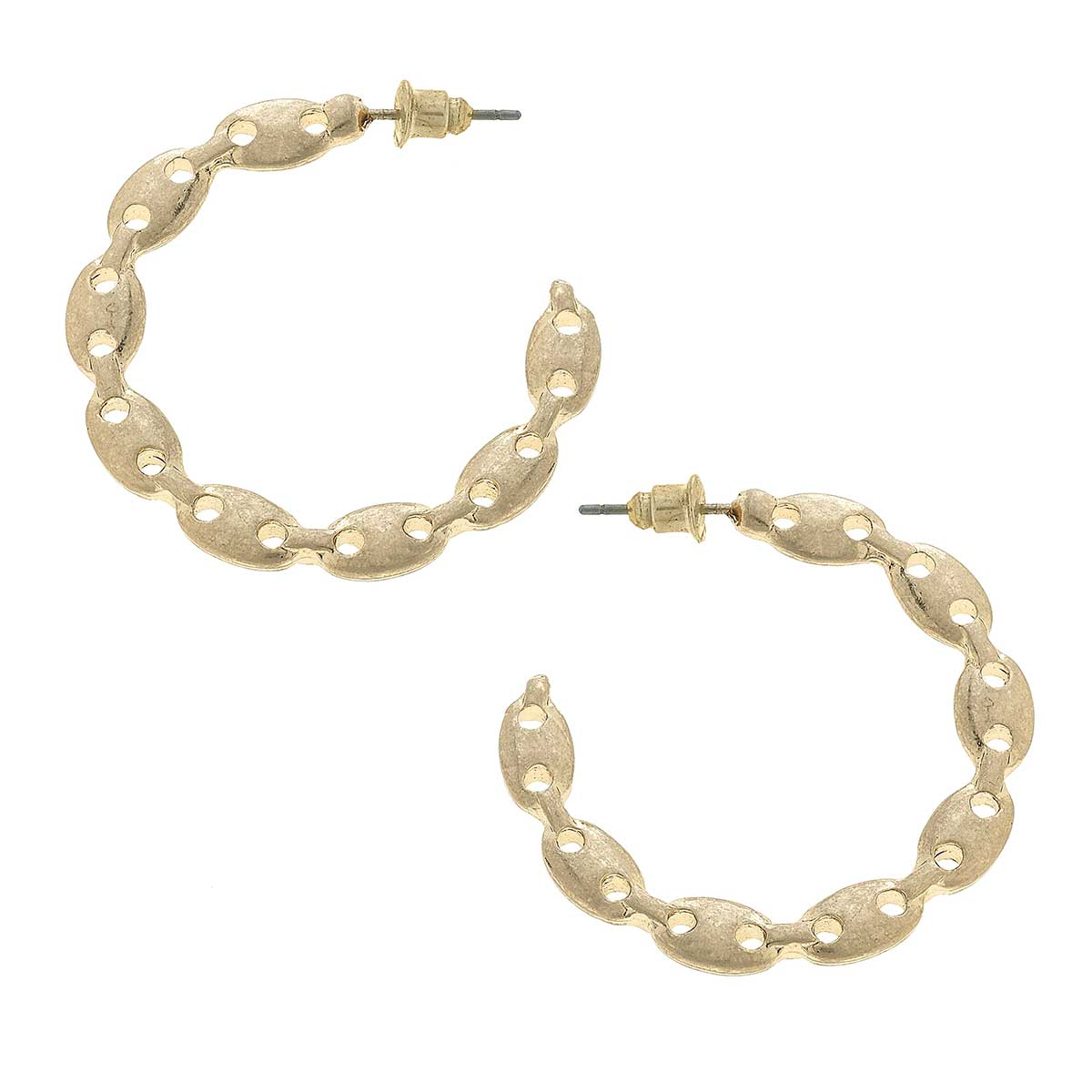 Vivian Frozen Chain Link Hoop Earrings in Worn Gold