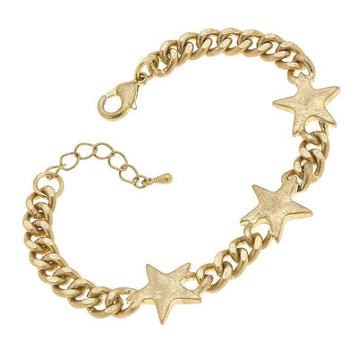 Serafina Star Curb Chain Bracelet in Worn Gold