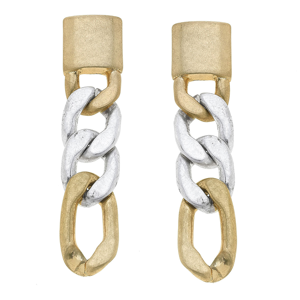 Genevieve Chain Link Earrings in Mixed Metals