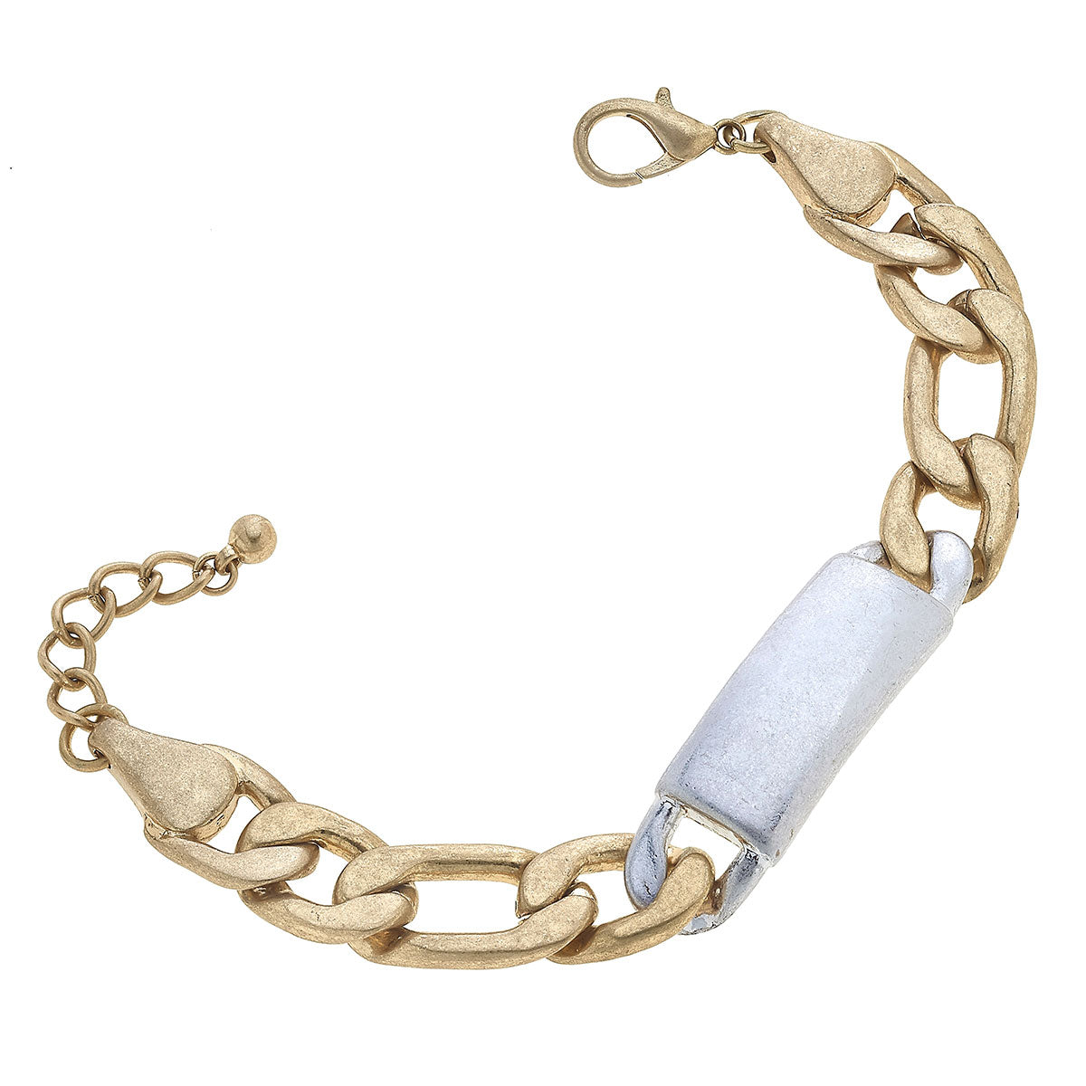 Valentina Chunky Chain ID Plate Bracelet in Mixed Metals