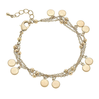 Lexi Delicate Layered Chain Bracelet in Worn Gold