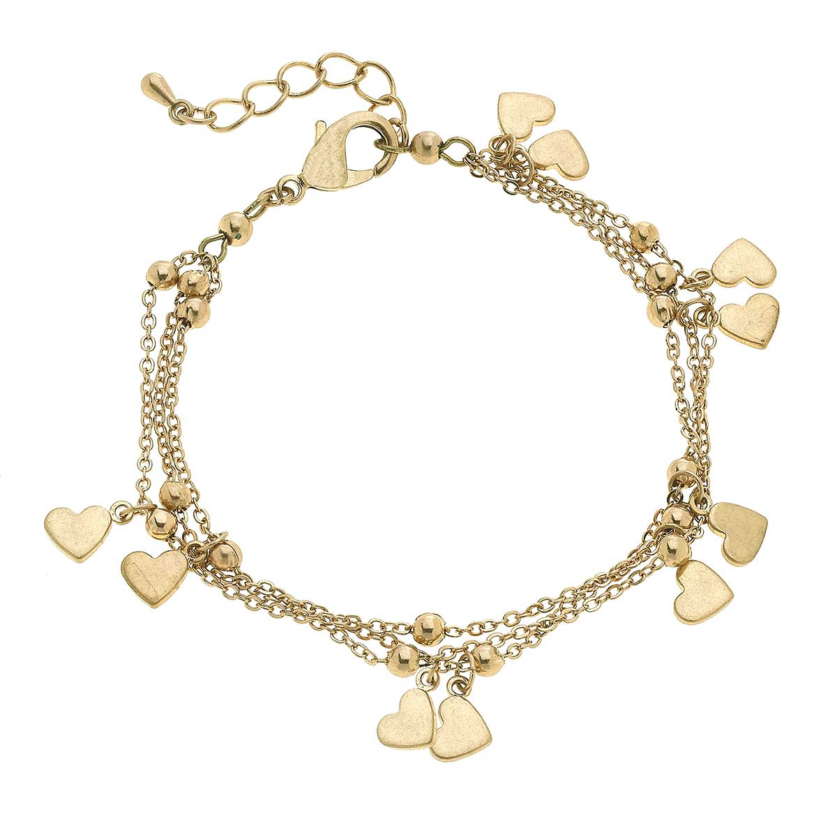 Lexi Delicate Layered Chain Heart Bracelet in Worn Gold