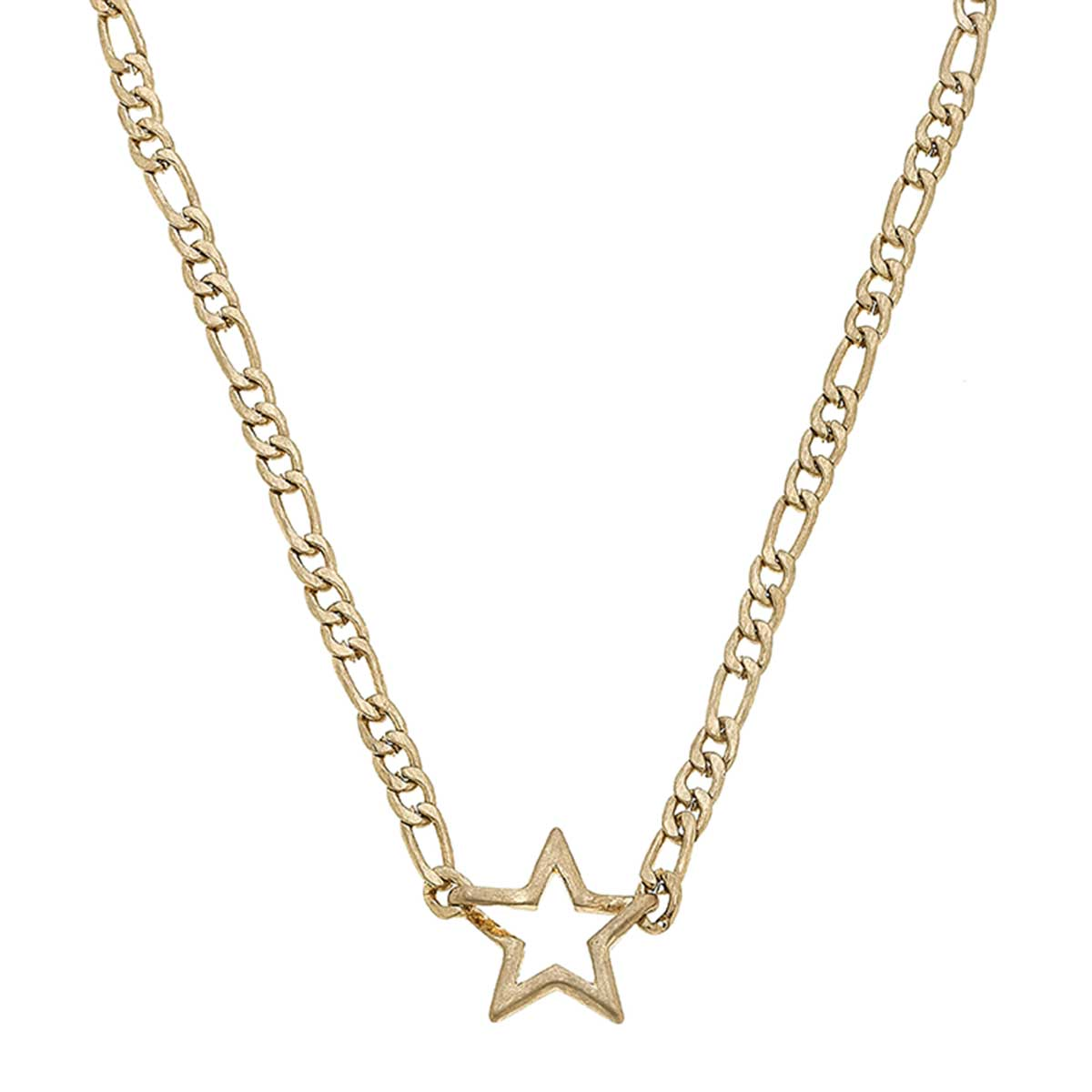 Abigail Star Layering Necklace in Worn Gold
