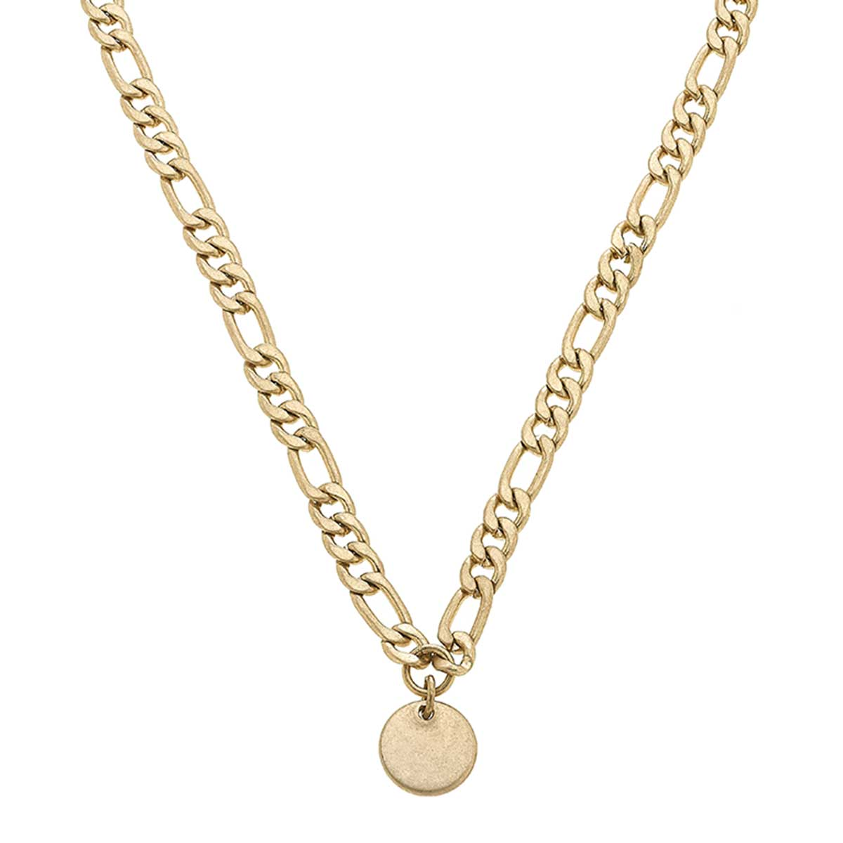Micola Disc Necklace in Worn Gold