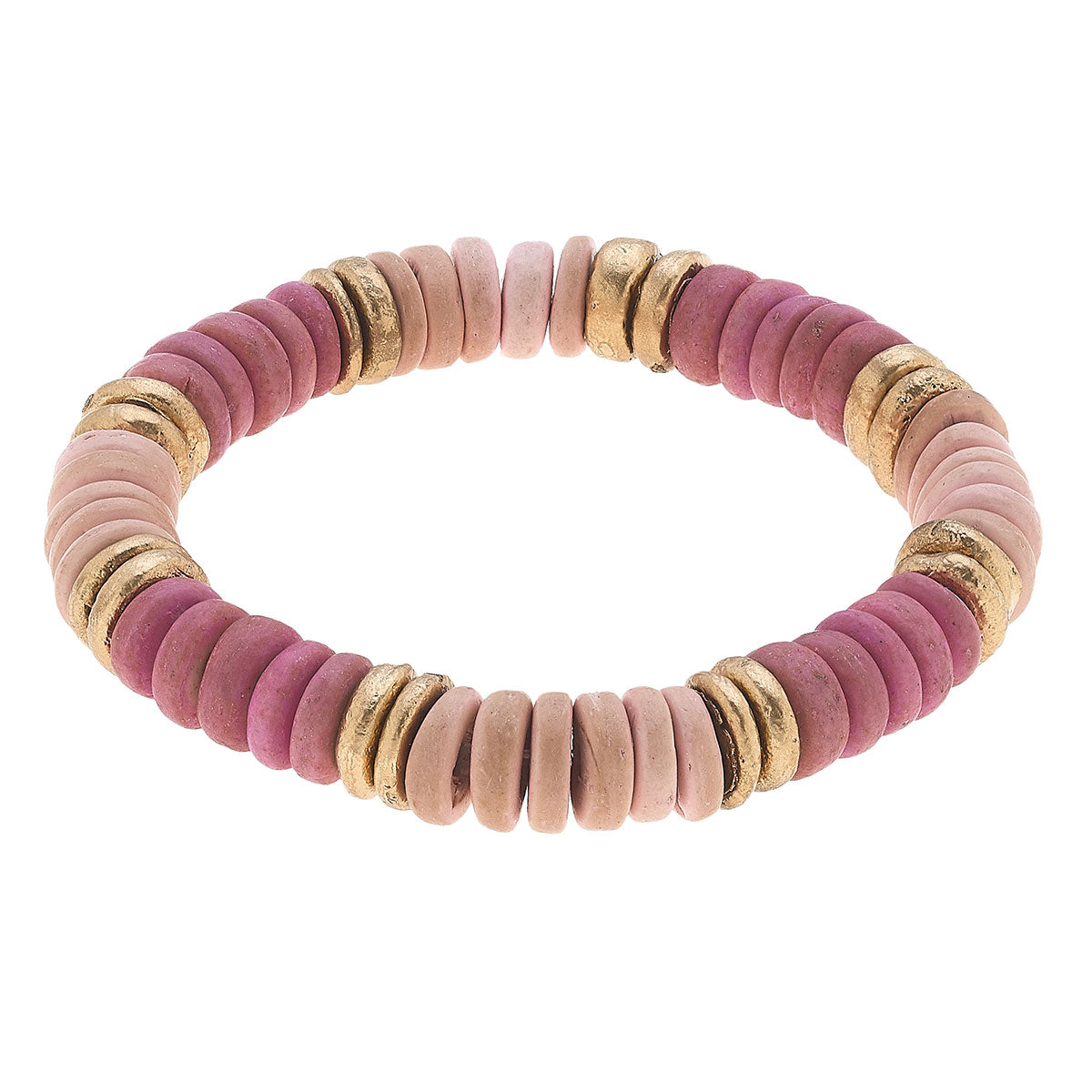 Presley Beaded Wood Stretch Bracelet in Blush Pink