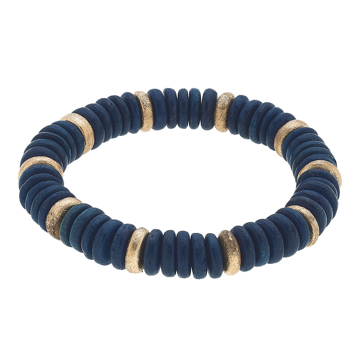 Presley Beaded Wood Stretch Bracelet in Navy