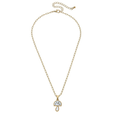 Joie Mother of Pearl Mushroom Charm Necklace in Ivory