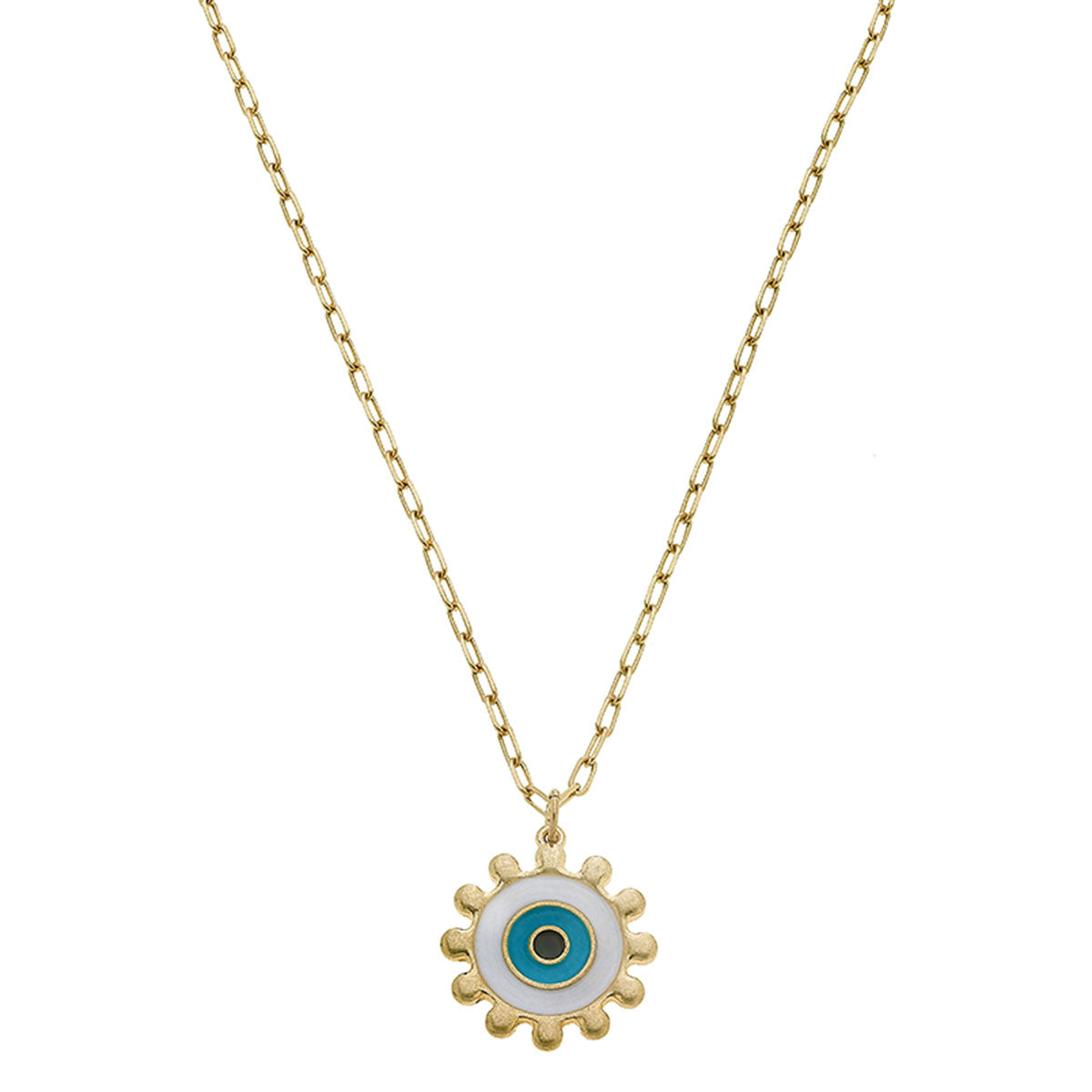 Nia Evil Eye Talisman Necklace in Aqua & White Enamel