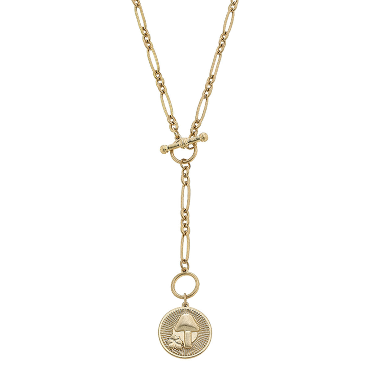 Pipa Mushroom Charm T-Bar Y Necklace in Worn Gold