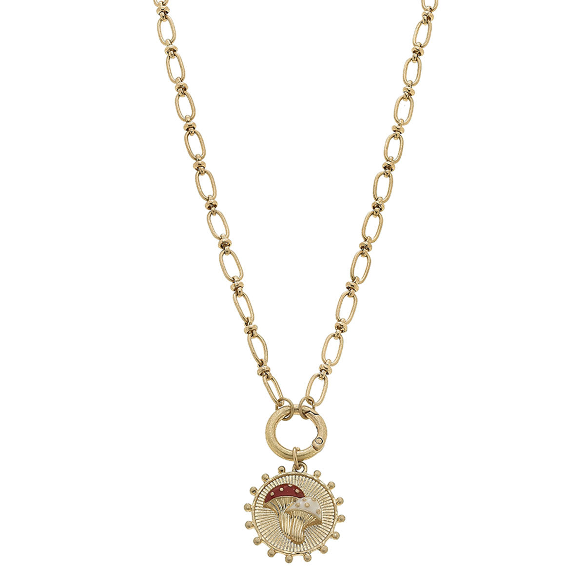 Riley Mushroom Charm Necklace in Worn Gold