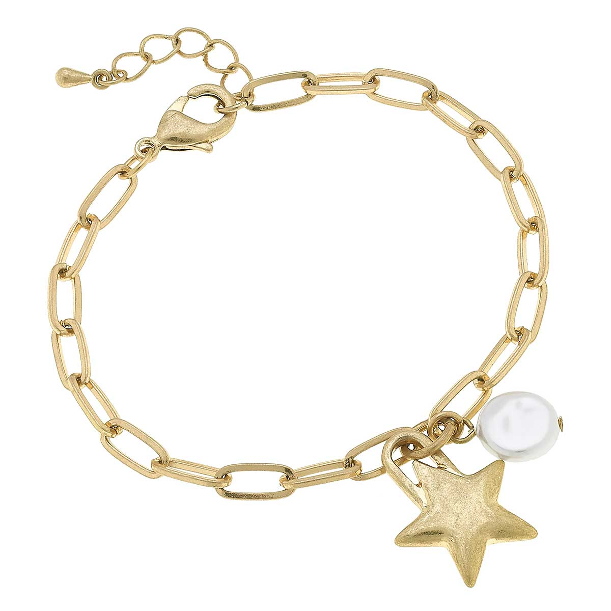 Darcey Paperclip Chain Charm Bracelet in Worn Gold