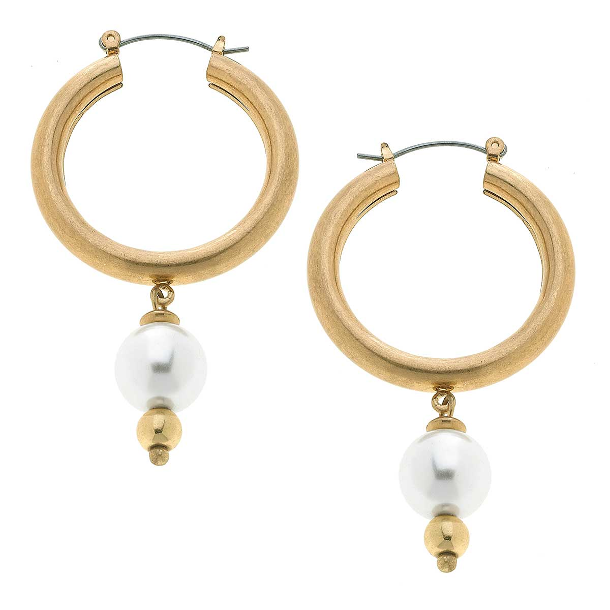 Nina Pearl Drop Hoop Earrings in Worn Gold