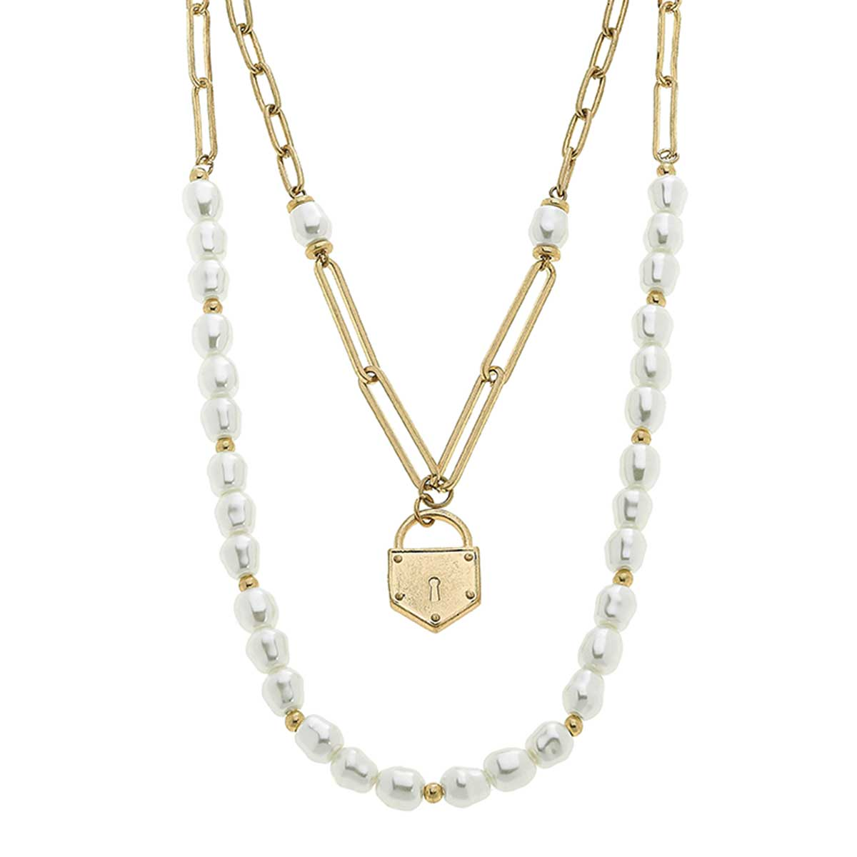 Kaiya Layered Pearls & Padlock Necklace in Worn Gold