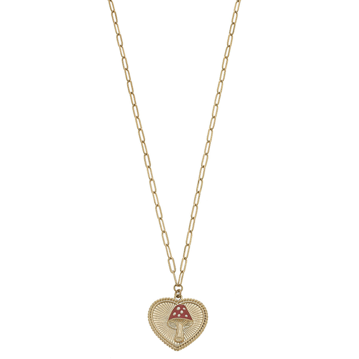 Aubrey Mushroom Heart Charm Necklace in Worn Gold